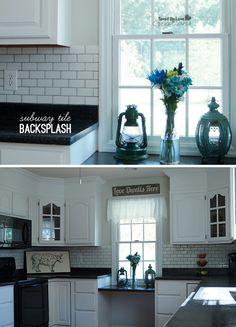 DIY Budget Backsplash Idea with Subway Tile @savedbyloves