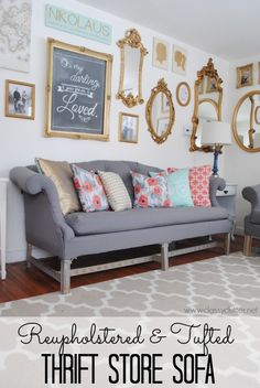 Reupholstered and Tufted Thrift Store Sofa