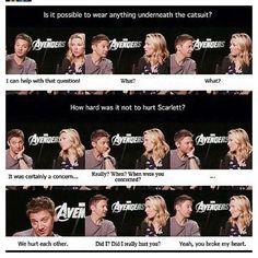 Jeremy Renner and Scarlett Johansson