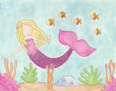 Mermaid - 8X10 Print. $15.00, via Etsy.