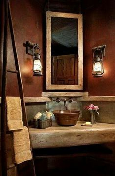 Love it...Warm amber colored bathroom.  Love all of the primitive-ness :)