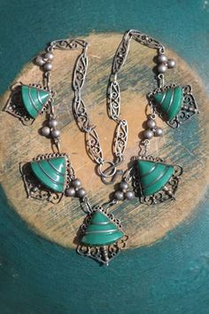 Vintage Mexican Sterling Silver & Green Obsidian Necklace with handmade Chain