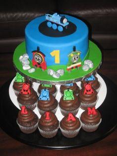 Thomas the Train 1st Birthday Cake boy's 1st birthday cupcakes, idea, train cakes, thomas the train, boy cakes, boy birthday cakes, 1st birthday cakes, 1st birthdays, parti