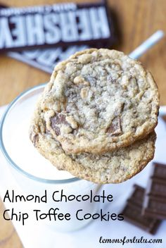 Almond Chocolate Chip Toffee Cookies  www.lemonsforlulu.com