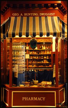 Old fashioned pharmacy store front if I own my own I want it to look like this