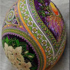 Close up of ostrich pasanky. Ukrainian Easter egg.