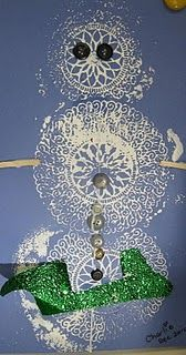 Snowman Doily Prints.  I really like this.  This can work with any doily.  Hearts, shamrocks, etc.  So many possibilities.
