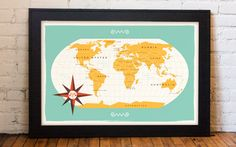 Modern World Map / Aqua by These Are Things