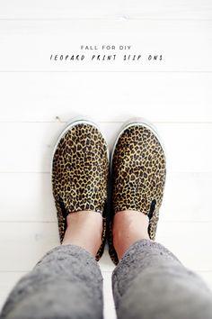 Fall For DIY leopard print slip ons