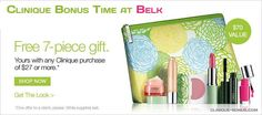 Belk bonus time is available now! http://clinique-bonus.com/belk/ Free with any 27 USD Clinique purchase.