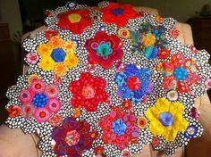 Hexagons in Kaffe Fassett fabric