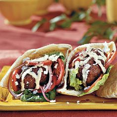 Ground Beef Recipes: Gyro Burgers With Tahini Sauce - 31 Quick Ground Beef Recipes - Southern Living