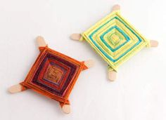 A craft from the Huichol tribe of Mexico, kids can easily create many of these colorful God's Eyes with Popsicle sticks and yarn.