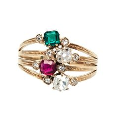 Ash Ridge-antique Victorian diamond, emerald, and ruby ring-Trumpet & Horn