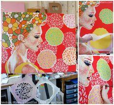 Painted Artwork by Amylee using Royal Design Studio Stencils via Paint + Pattern