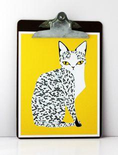 LOve this cat  Yellow Egyptian Mau Cat Print. $20.00, via Etsy.
