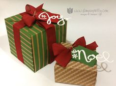 Stampin up stamping pretty gift box punch board holiday christmas wonderful wreath framelits dies big shot ideas