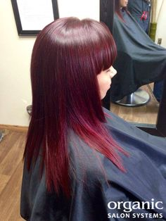 Red Velvet Hair [COLOR FORMULA] with Organic Color Systems from @Organic Salon Systems. Formula: 3/4 4FR,1/4 5FR, with 10 ml XBR all with 30 vol. The balayage technique was then used with with 3 and 20 vol. #redhaircolor #redhair #redvelvet