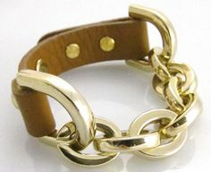Genuine Leather Heavy Chain Equestrian Bracelet- Gold/Congac