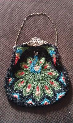 1920 Vintage Peacock bead art clutch purse