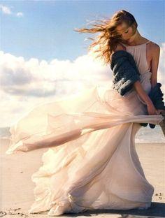 windy beach and a peach dress