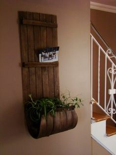 Old toboggan revisited   wall art, idea, plant holders, plants, repurpose wooden toboggan, old wood, planters, diy, christma