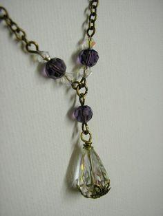 Purple Crystal Drop Necklace