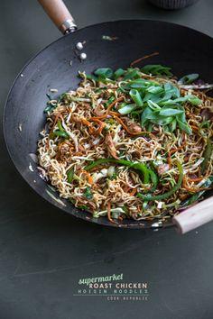 "Supermarket ""Roast Chicken"" Noodles - fast under 20 minute dinner option"
