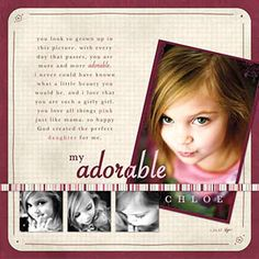 by Kris Noorman... <3 how the title changes color to be readable on top of the photo craft, photo layouts, scrapbook layouts, digital scrapbooking, girl scrapbook, scrapbook idea, scrapbook pages, kid, scrapbooking layouts