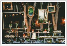 Enchanted Garden Malibu Wedding by Alchemy Fine Events www.alchemyfineevents.com at Stone Manor Dessert bar, brownie bites, chocolate peppermint cupcakes, pomegranate panna cotta, caramel pudding