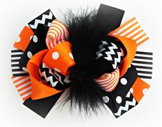 Black and Orange Chevron Hair Bow, Stripe Print Fall Bow, Boutique Bow , Hair Bow, Orange ribbon, Black Ribbon, Marabou on Etsy, $7.95