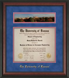 University of Kansas  Diploma Frame w/Hardwood Moulding and official University of Kansas Seal and name embossing, along with a fall photo of campus in the Fall.  Blue Suede on red mat.  A unique and thoughtful graduation gift! university of kansas, kansa diploma, seal, red mat, graduation gifts, diploma frame, blue sued, fall photos, graduat gift