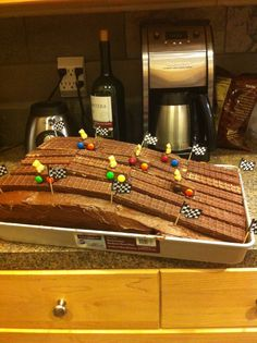 Pinewood Derby Track Cake