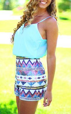Chevron Sequin Skirt Top Mint