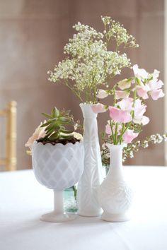 flowers/milk glass