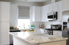 cabinets, kitchen reveal, classic white, subway tiles, kitchen remodel, countertop, dream kitchens, stainless steel, white kitchens
