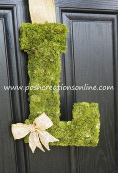 decor, cover initi, idea, craft, initials, ribbons, burlap bows, burlap ribbon, moss cover