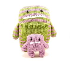 Knitted monster with a pocket for baby monster. Like these colors