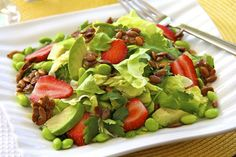 Salad with Strawberries, Avocados, Edamame, Roasted Sweet/Salty Pepita and Fresh Basil/Ginger Vinaigrette