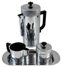 BRADLEY STEPHENS' PICK - Deco CHase Von Nessen Continental Chrome Coffee Set - $450.