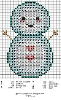 Cute little snowman to cross-stitch -- free chart from Cross Me Not.
