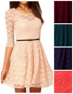 Lace mid sleeve dres