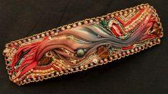 Shibori Ribbon Bead Embroidered Autumn Jewel by SoulshineStudioNY