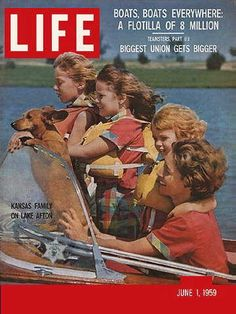 Life Magazine, June 1, 1959 - Dachshund boating with his family