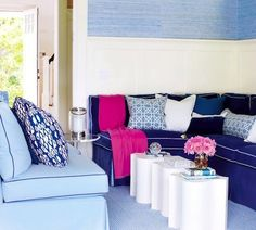 Navy and Pink Living Room - my kind of space!