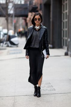 fashion weeks, outfit, street styles, leather jackets, new york fashion, black, street chic, maxi skirts, couture fashion