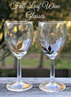 Fall Leaf Wine Glasses