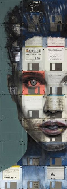 Watercolour portrait on old floppy disks by Nick Gentry.