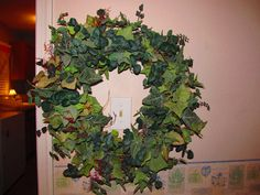 made with 2 greenery, pre-made swags....then l hot glued extra twigs and other extra 'fillers' that l have at home to give it a personal touch. Love wreaths!!
