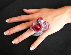 pretty light blue and red crochet shell pearl textile ring by fingerkisses on Etsy | Craft Juice